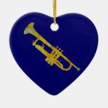 Trompeta de oro adornos de navidad