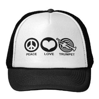 Trompeta del amor de la paz gorro