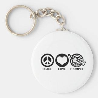 Trompeta del amor de la paz llaveros personalizados