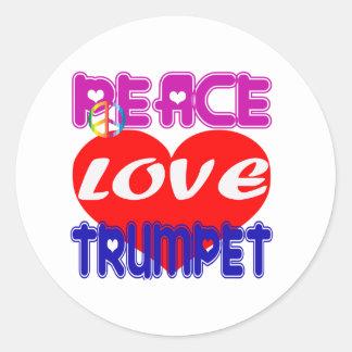 Trompeta del amor de la paz pegatina redonda