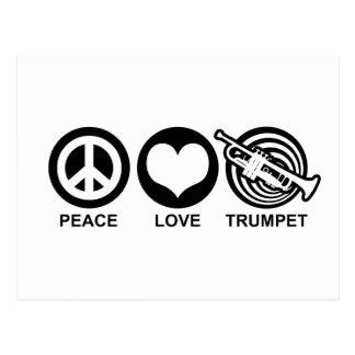 Trompeta del amor de la paz tarjetas postales