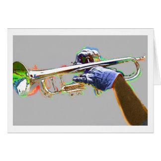 Trompeta destacada en colores psicodélicos tarjeta de felicitación