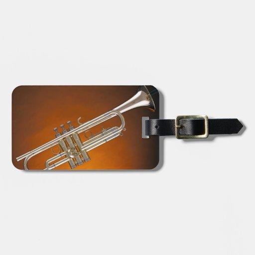 Trompeta en el oro etiqueta de equipaje