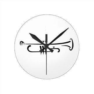 Trompeta negra relojes de pared