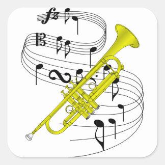 Trompeta Pegatina Cuadrada