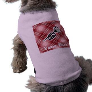 Trompeta roja de la tela escocesa prenda mascota