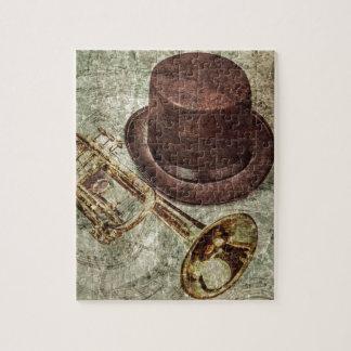 Trompeta, sombrero de copa y notas musicales puzzle con fotos