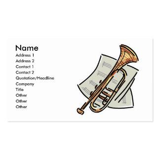 trompeta y partitura, nombre, dirección 1, Addre… Tarjetas De Visita