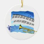 Trompeta y teclado, música azul del gráfico del te ornamentos de navidad