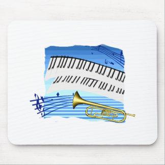 Trompeta y teclado, música azul del gráfico del te tapete de ratón