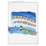 Trompeta y teclado, música azul del gráfico del te felicitaciones