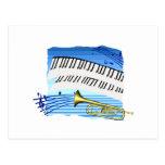 Trompeta y teclado, música azul del gráfico del te tarjetas postales