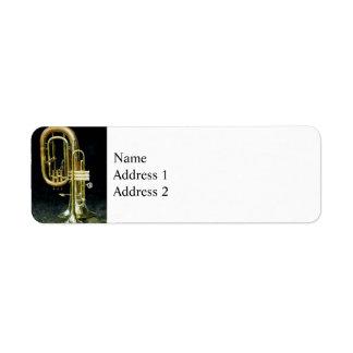 Trompeta y tuba etiqueta de remitente