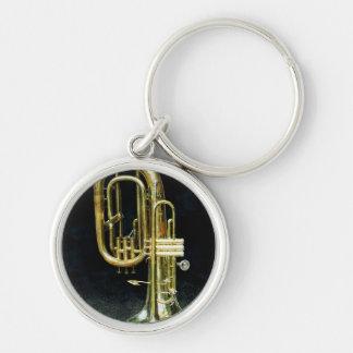 Trompeta y tuba llavero redondo plateado