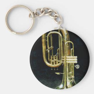Trompeta y tuba llavero redondo tipo pin