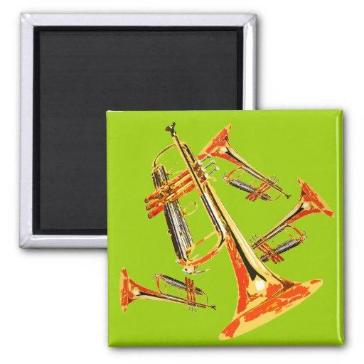 Trompetas múltiples imán cuadrado