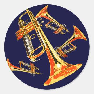 Trompetas múltiples pegatina redonda