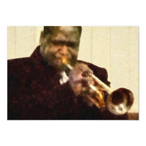 """Trompetista del jazz invitación 5"""" x 7"""""""