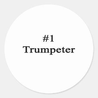 Trompetista del número 1 pegatinas redondas