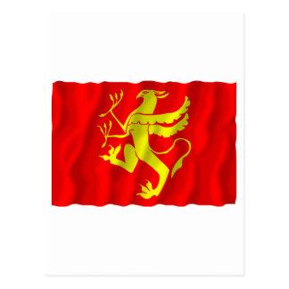 Troms waving flag postcard