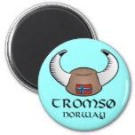Tromso Norway Viking Hat 2 Inch Round Magnet