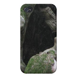 Tronco de árbol cubierto de musgo hueco iPhone 4/4S fundas