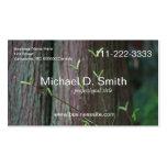 Tronco de árbol e informatio lleno de las hojas de tarjetas personales