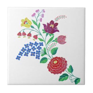 Tronco de la flor de Kalocsai Azulejo Cuadrado Pequeño