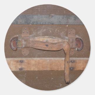 Tronco de madera del vintage pegatina redonda