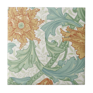 Tronco del estampado de flores de William Morris Azulejo Cuadrado Pequeño