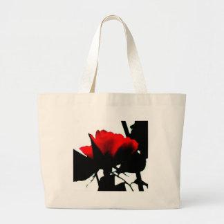 Tronco del rosa rojo y del negro bolsa tela grande
