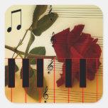 Tronco largo subió, llaves del piano y notas calcomania cuadradas personalizadas