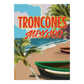 Troncones Beach Mexico travel poster