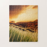 troncos de la precipitación en la puesta del sol rompecabeza con fotos