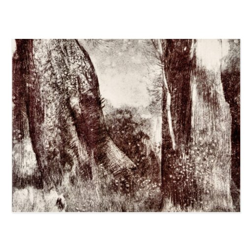 Troncos en el bosque de Bertrand-Jean Redon Postal