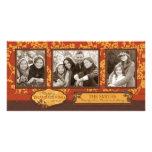 Troncos florales de la caída en color caliente del tarjeta fotográfica personalizada