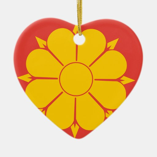 Trondheim, North Korea flag Double-Sided Heart Ceramic Christmas Ornament