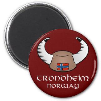 Trondheim Norway Viking Hat 2 Inch Round Magnet