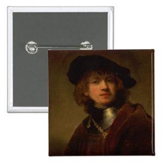 Tronie de un hombre joven con el Gorget y la boina Pin Cuadrada 5 Cm