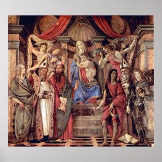 Trono de Madonna de ángeles y de santos Poster