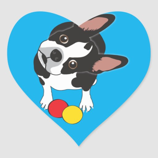 Trooper the Boston Terrier Heart Sticker