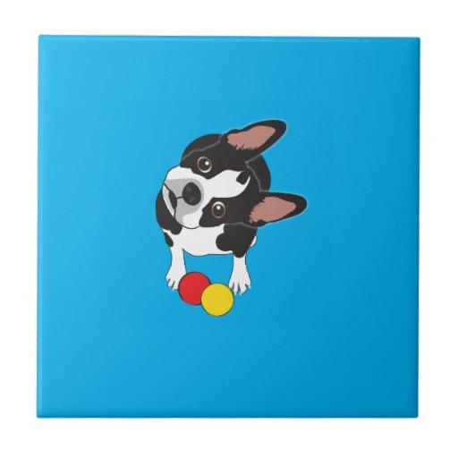 Trooper the Boston Terrier Small Square Tile