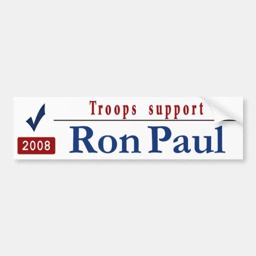 Troops Support Ron Paul Car Bumper Sticker