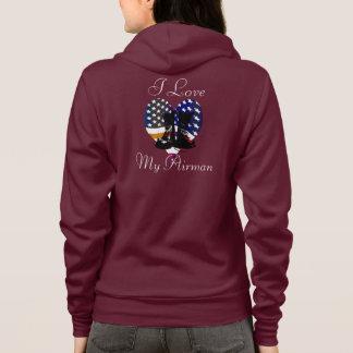 troops USA patriotic boots heart love Airman Hoodie