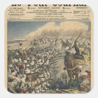 Tropas del ejército francés, franceses de la élite pegatina cuadrada