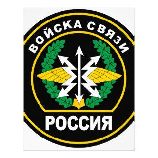 Tropas rusas de la comunicación remiendo de hombr plantilla de membrete
