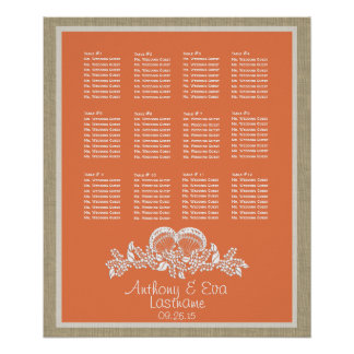 Tropcial Seashell Beach Theme Seat Chart Posters