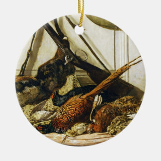 Trophies of the Hunt, 1862 Claude Monet Double-Sided Ceramic Round Christmas Ornament