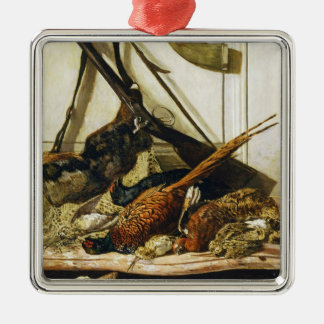 Trophies of the Hunt, 1862 Claude Monet Square Metal Christmas Ornament