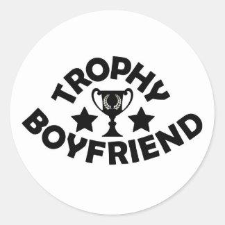 trophy boyfriend classic round sticker